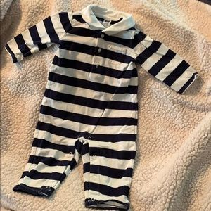 Janie and Jack Navy Striped Romper Size 3-6 Months
